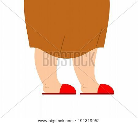 Grandmother Legs Are In Slippers. Feet Of An Elderly Woman Isolated