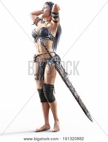 Warrior amazon woman with sword. Long dark hair. Muscular athletic body. Girl standing candid provocative aggressive pose. Photorealistic 3D rendering isolate illustration. Hi key.