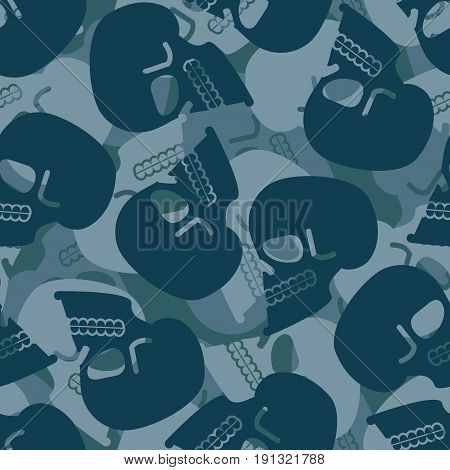 Military Texture Skull. Army Skeleton Seamless Texture. Soldiers Death Background. Protective Patter