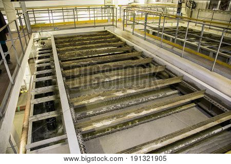 Inside modern wastewater treatment plant. Cleaning  by flotators
