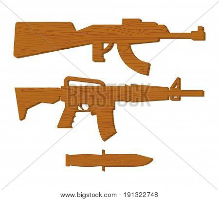 Wooden Gun Kids Set. Board Weapons And Knife. Childrens Military Toy
