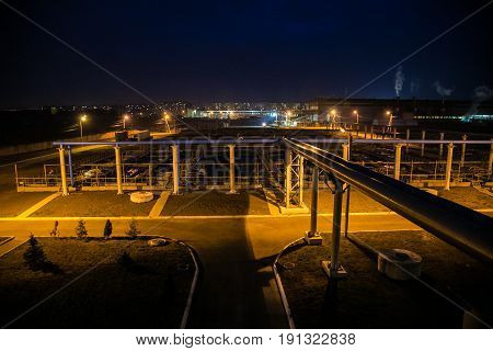 Modern wastewater treatment plant of chemical factory at night