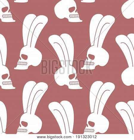 Rabbit Skull Pattern. White Bunny With Skeleton Head With Ears Background
