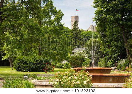 Park of Koenigstein with ruin of castle Koenigstein Hesse Germany