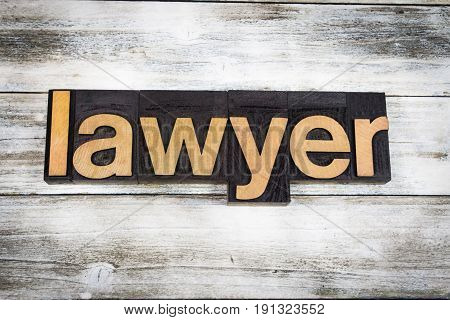 Lawyer Letterpress Word On Wooden Background