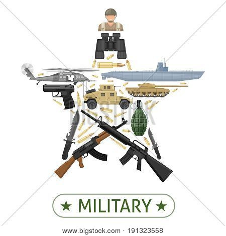 Military equipment design in star shape with combat vehicles weapons ammunition on white background vector illustration