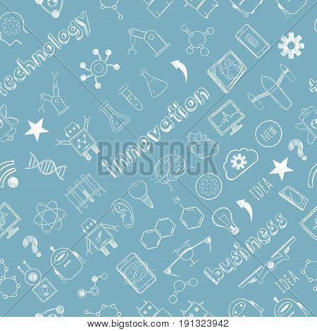 Sketch science and technology seamless pattern with innovative icons and elements in chemistry physics medicine robotics vector illustration