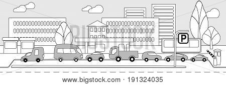 Monochrome city parking zone concept with cars vans truck bus on cityscape in linear style vector illustration