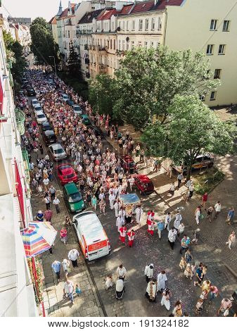Wroclaw, Poland - June 15, 2017: Religious Procession At Corpus Christi Day In One Of The Suburban D
