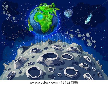 Cartoon colorful space landscape template with moon surface Earth globe comets stars and meteors vector illustration