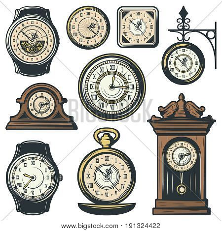 Colored classic watches collection with clocks of different shapes and forms in vintage style isolated vector illustration