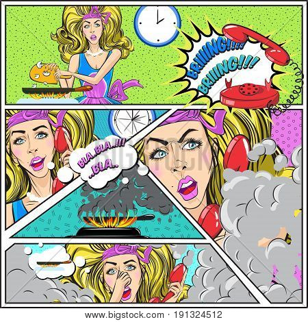 Pop art colorful card template with attractive woman talked on phone and forgot about food cooking vector illustration