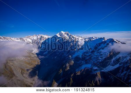 Nice view of Grossglockner peak and glacier from KaiserFranz Josef Glacier National Park, in New Zealand in the Austrian Alps.