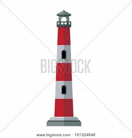 Vector cartoon flat and solid color lighthouses. Searchlight tower for maritime navigational guidance