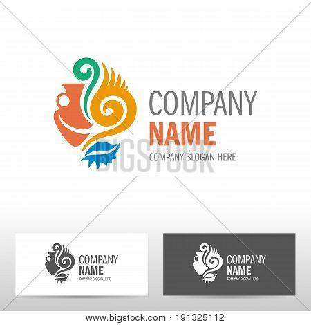 Travel logo design with amphora. Vector illustration