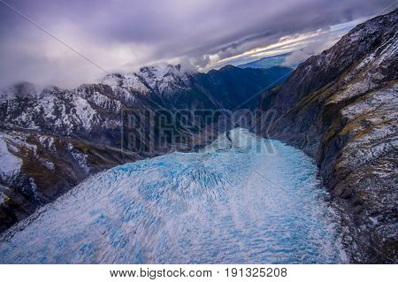 Scenic landscape at Franz Josef Glacier. Southern Alps, West Coast, South Island, New Zealand.