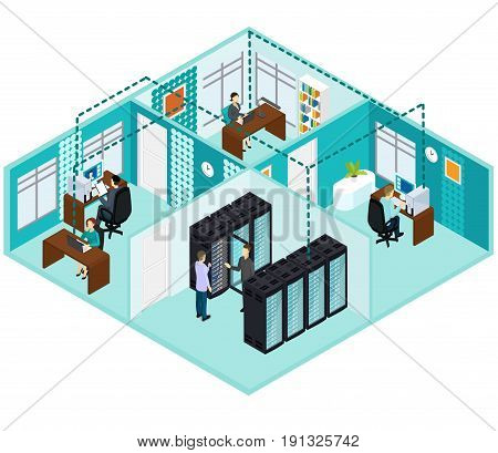 Isometric datacenter concept with people working in office server hosting and database room vector illustration