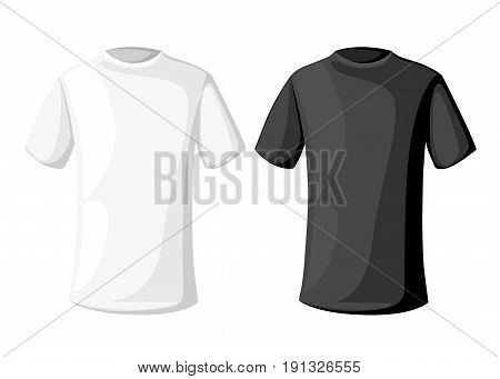 Vector Illustration. Men's Short Round Neck T-shirt . Front, Side And Back Views. Black And White Va