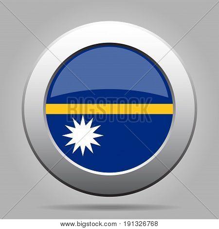National flag of Nauru. Shiny metal gray round button with shadow.