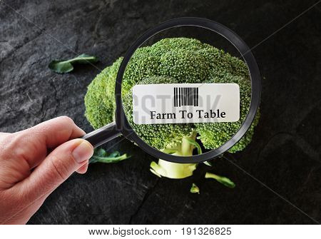 Broccoli with Farm To Table label and magnifying glass