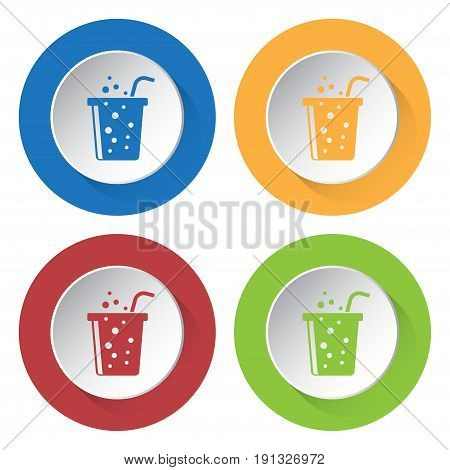 Set of four round colored buttons and icons. Fast food carbonated drink with straw.