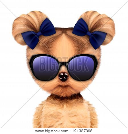 Funny adorable doggy girl with elegance sunglasses, isolated on white. Vacation concept. Realistic 3D illustration