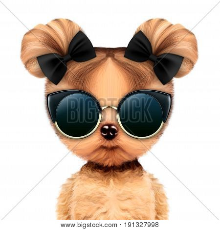 Funny adorable doggy girl with glamour sunglasses, isolated on white. Vacation concept. Realistic 3D illustration