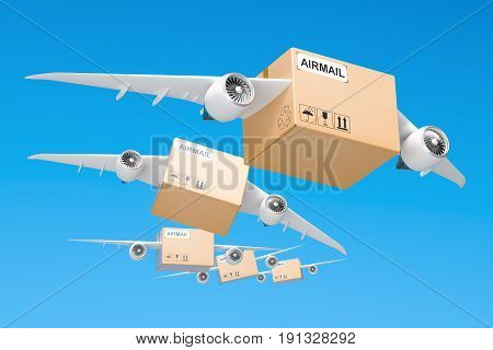 Air mail delivery concept. Parcels with wings flying in the sky 3D rendering