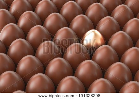 Chocolate eggs with one golden egg 3D rendering