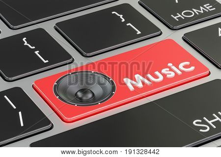 Music button red key on keyboard. 3D rendering