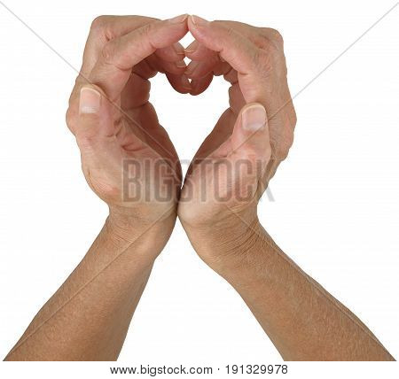 I HEART you - female hands making a heart shape against a white background