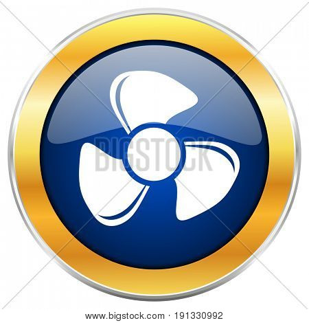 Fan blue web icon with golden chrome metallic border isolated on white background for web and mobile apps designers.
