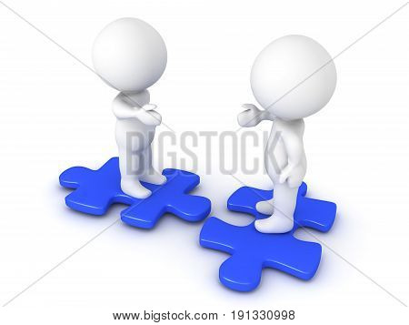 Two 3D Characters Extending Hands And Sitting On Blue Puzzle Pieces