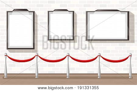 Three Empty Picture Frames With Stanchion Museum Exhibition Background Vector Illustration