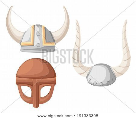 Viking Helmet. Flat Vector Illustration Of Viking Helmet On Wood Texture Backgroud
