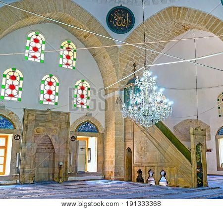 The Prayer Hall Of Tekeli Mehmet Pasa Mosque In Antalya