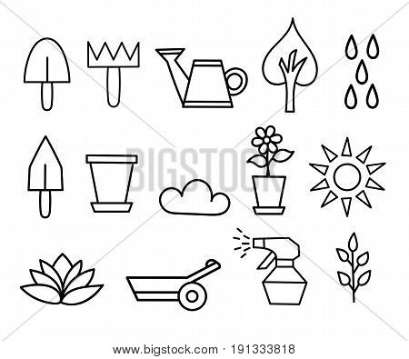 Outline Icon Collection Flower And Gardening Vector Illustration