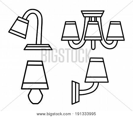 Vector Line Icons With Various Modern Chandeliers. Simple Design Pictograms.