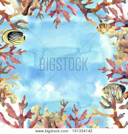 Watercolor card with sea, coral and fish. Hand painted underwater frame with coral branches. Tropical sea life illustration. For design, print or background