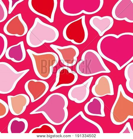 Vector seamless pattern background with hand drawn bright whimsical hearts. Happy Valentine's Day. Happy Birthday. Happy Women's Day.