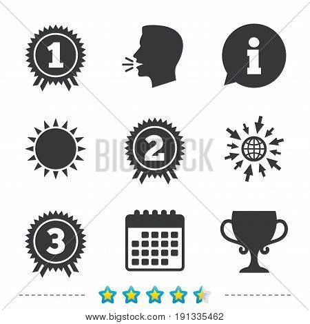 First, second and third place icons. Award medals sign symbols. Prize cup for winner. Information, go to web and calendar icons. Sun and loud speak symbol. Vector