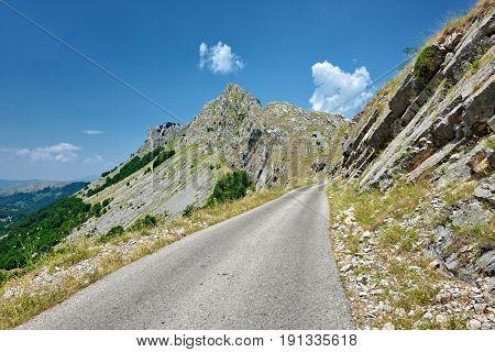 narrow mountain road in Prokletije Park, Montenegro