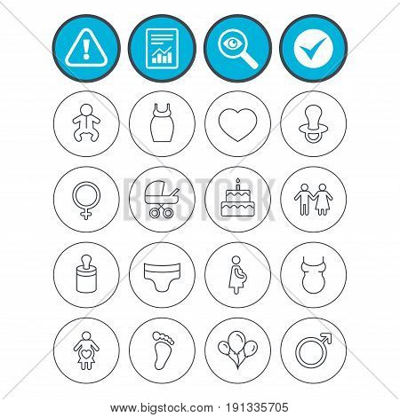 Report, check tick and attention signs. Baby and Maternity icons. Toddler, diapers and child footprint symbols. Heart, birthday cake and pacifier thin outline signs. Vector