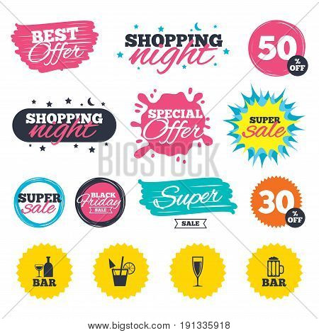 Sale shopping banners. Special offer splash. Bar or Pub icons. Glass of beer and champagne signs. Alcohol drinks and cocktail symbols. Web badges and stickers. Best offer. Vector