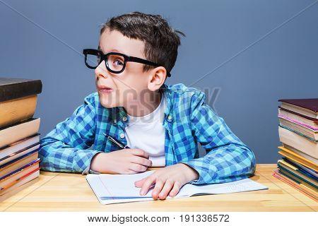 Pupil in glasses squints, bad vision concept