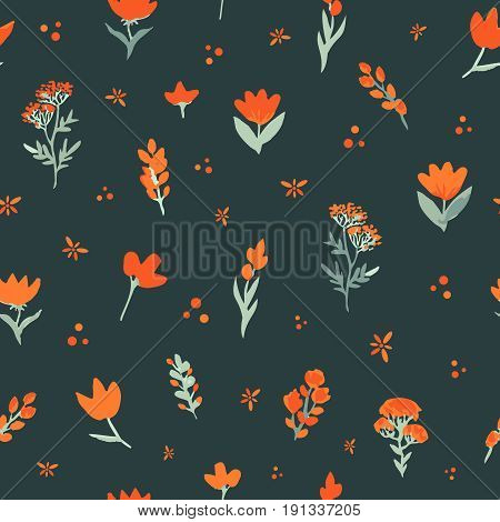 Floral vector seamless pattern. Orange wildflowers on dark background. The elegant template for fashion prints, backdrop, wrap etc.
