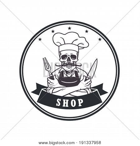 Dead Skull Chef Grinning with Fork, Knive, and Hat. Restaurant Logo Template. Circle Vector Drawing