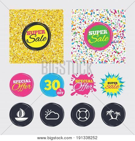 Gold glitter and confetti backgrounds. Covers, posters and flyers design. Travel icons. Sail boat with lifebuoy symbols. Cloud with sun weather sign. Palm tree. Sale banners. Special offer splash