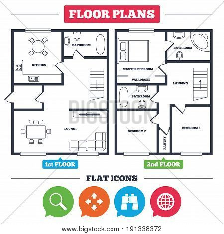 Architecture plan with furniture. House floor plan. Magnifier glass and globe search icons. Fullscreen arrows and binocular search sign symbols. Kitchen, lounge and bathroom. Vector