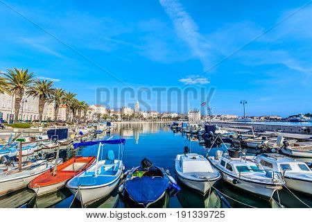 Waterfront view at mediterranean scenery in old roman town Split, Croatia.